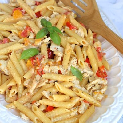 Pasta and Chicken with tomato cream sauce