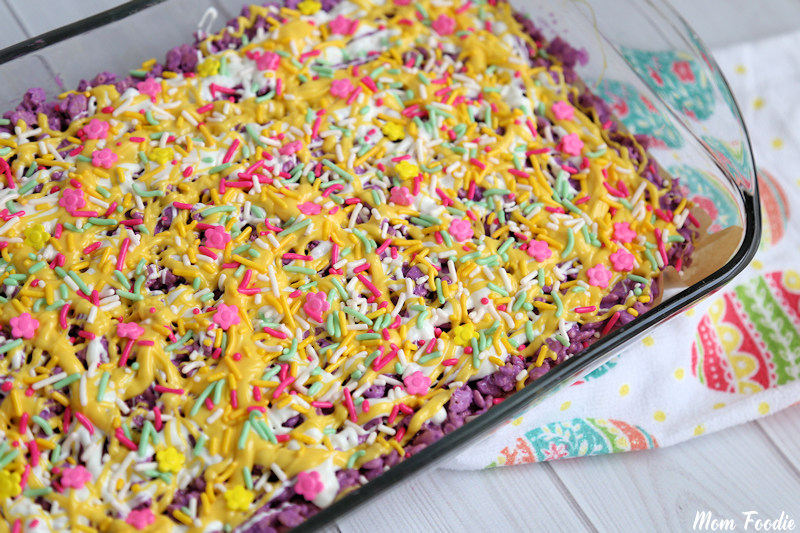 Pastel Chocolate Krispie Bars topped