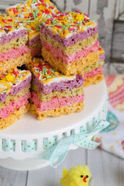 Pastel Chocolate Rice Krispies Bars: No Bake Spring Treats