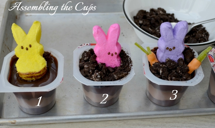 Peeps Pudding Cups - assembling
