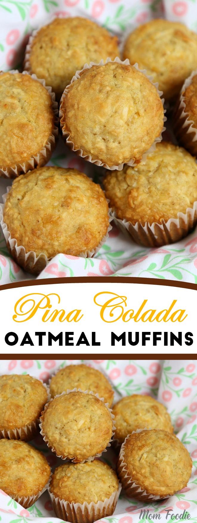 Pina Colada Muffins - Coconut Pineapple Oatmeal Muffin Recipe