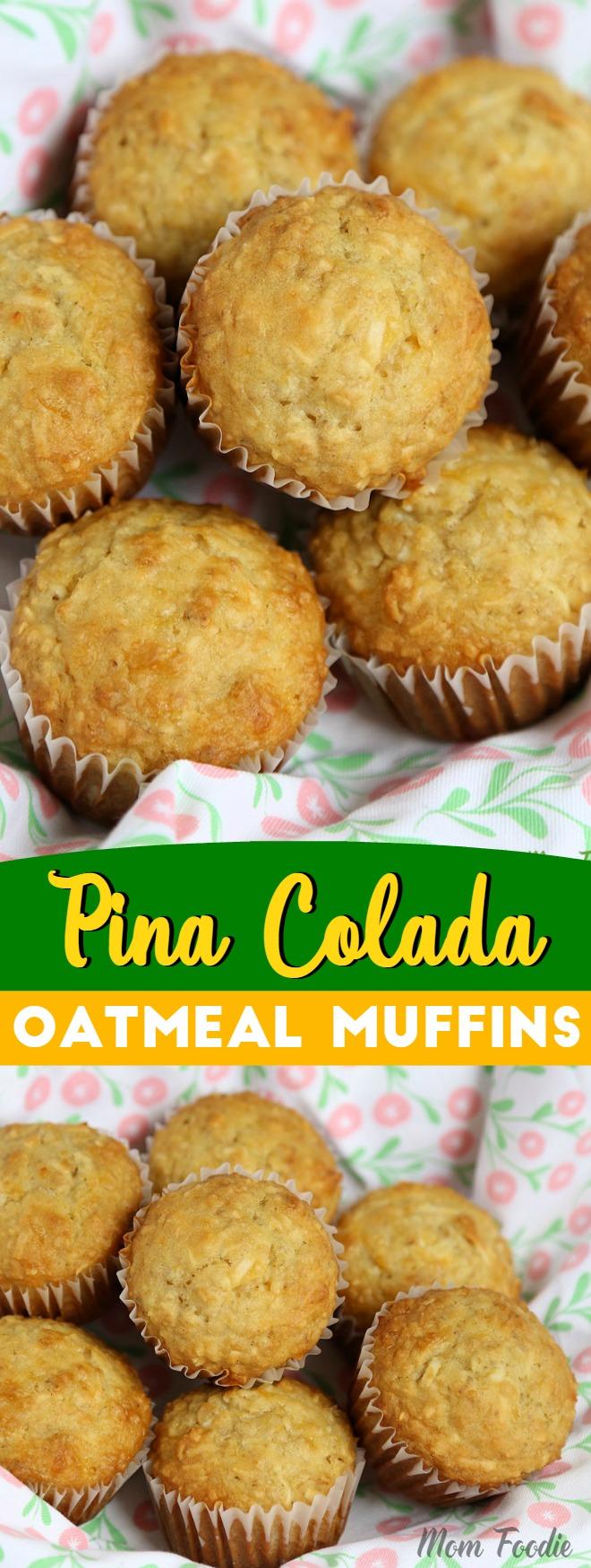 Pina Colada Muffins Recipe - Coconut Pineapple Oatmeal Muffins