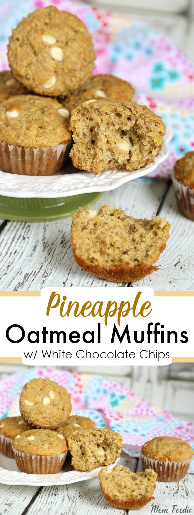 Pineapple Oatmeal Muffins Recipe with white chocolate chips