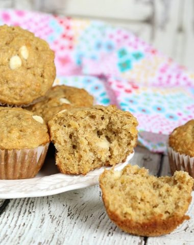 Pineapple Oatmeal Muffins with White Chocolate Chips
