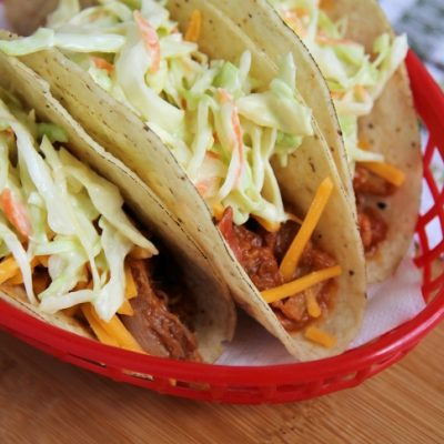 10-Minute Pulled Pork Tacos with Quick Slaw