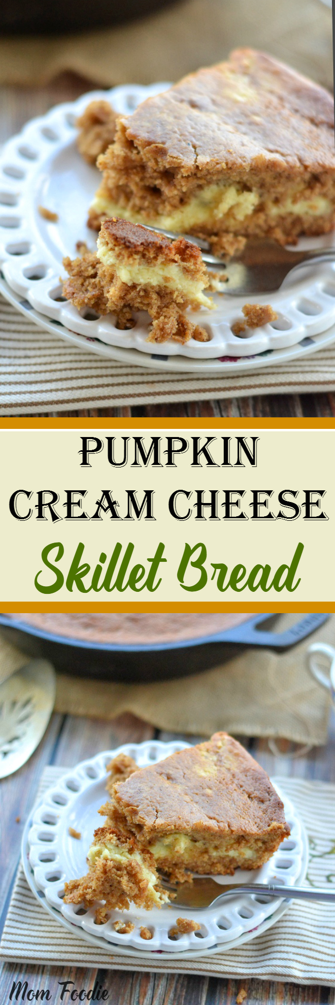 Pumpkin Cream Cheese Skillet Bread