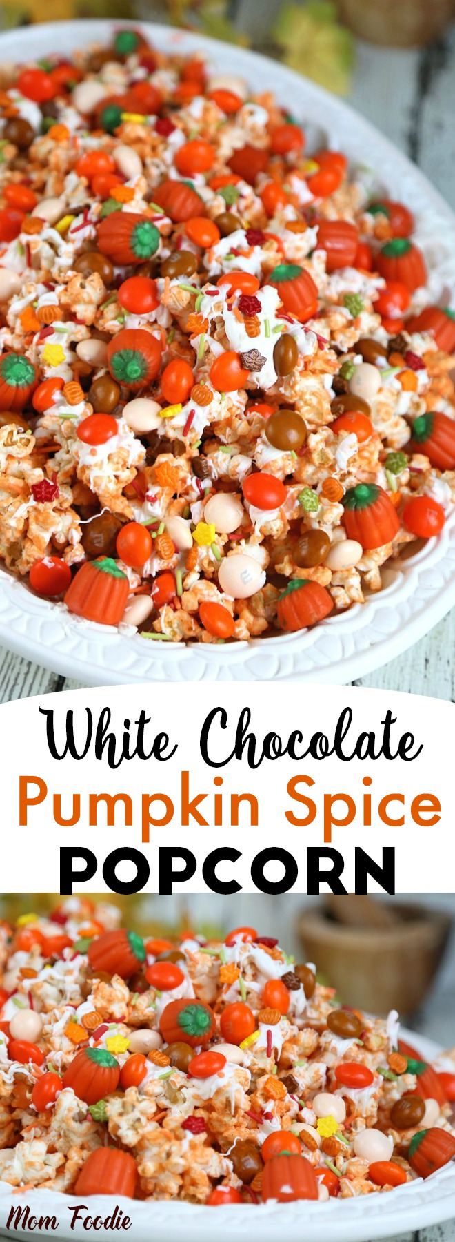 This Pumpkin Spice Popcorn recipe is the perfect blend of sweet and savory in a festive fall snack . The colorful fall pumpkin spice white chocolate popcorn mix is perfect for fall events such as Thanksgiving or a Halloween Party.