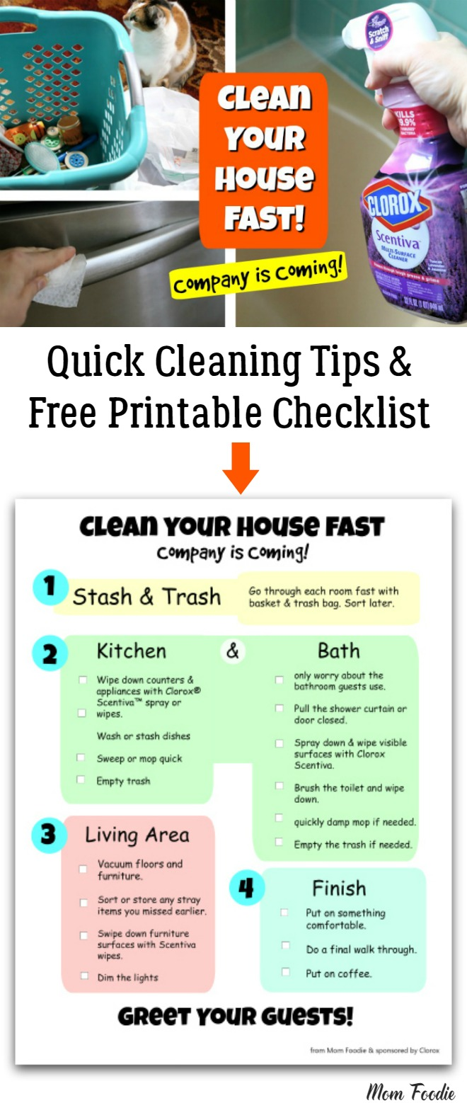 Quick House Cleaning Tips Free Printable checklist