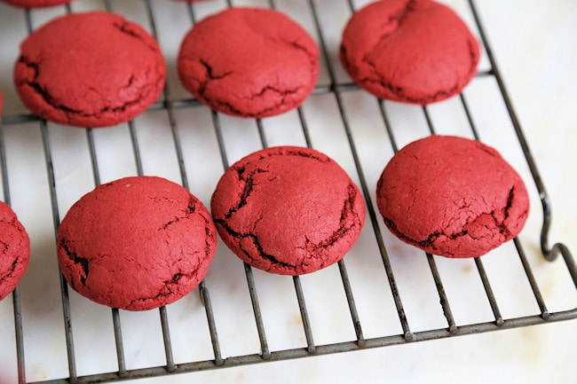 Red Velvet Cake Mix cookies cooling