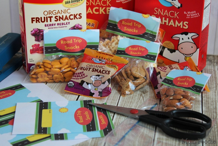 Road Trip Snacks packing and labeling