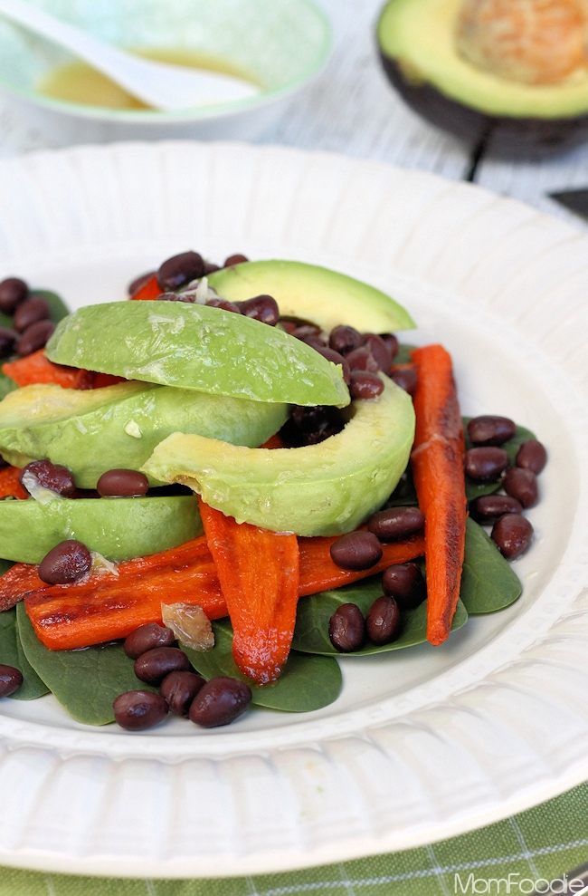 Roasted Carrot, Avocado & Black Bean Salad with Roasted Garlic Lemon Dressing