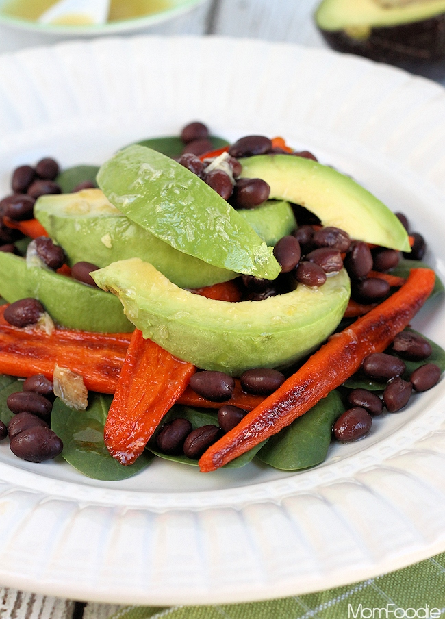 Smokey Roasted Carrot, Avocado & Black Bean Salad with Roasted Garlic ...