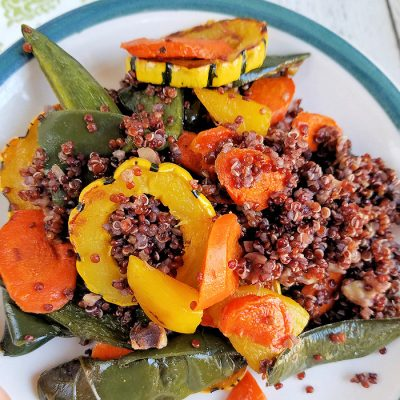 Roasted Delicata Squash, Golden Beet, Carrot & Poblano Red Quinoa with Quick Turmeric Lemon Dressing