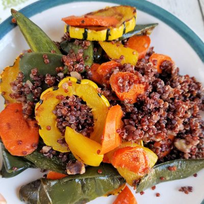 Roasted Delicata Squash, Golden Beet, Carrot and Poblano Red Quinoa recipe