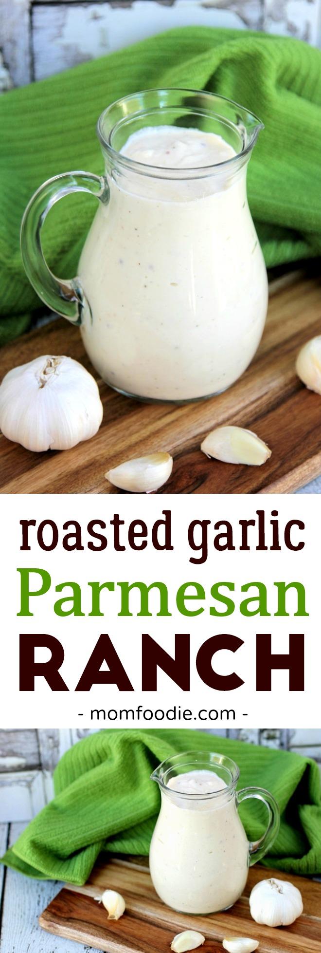 Roasted Garlic Parmesan Ranch Salad Dressing Recipe #ranchdressing #garlic #Parmesan #dressing #ranch