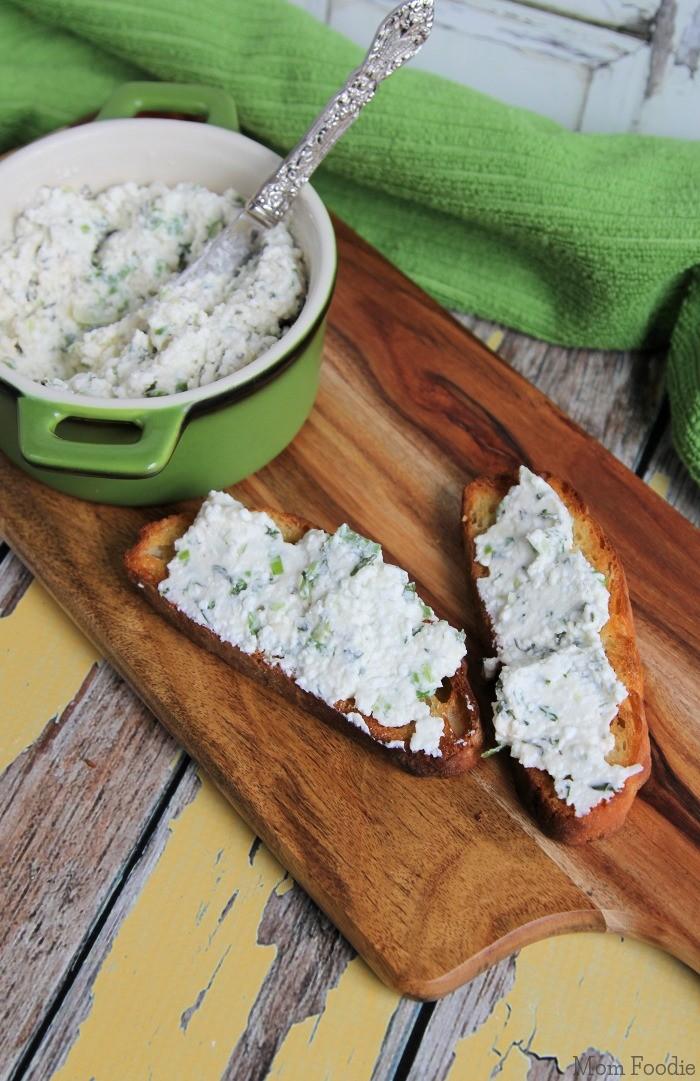 Romano Herb Cottage Cheese Spread on Crostini