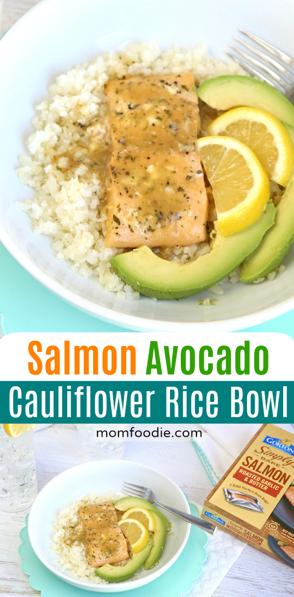 Salmon Avocado Cauliflower Rice Bowl
