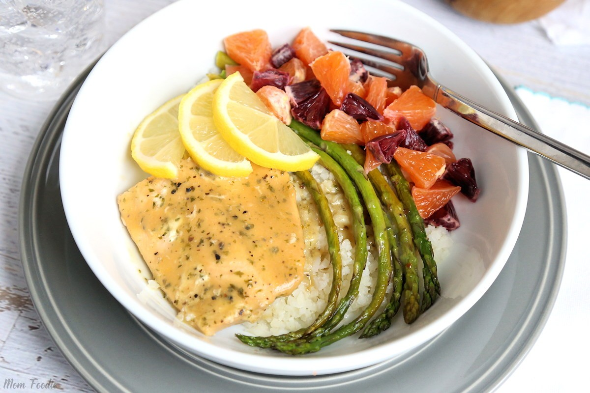Salmon Cauliflower Rice Bowl