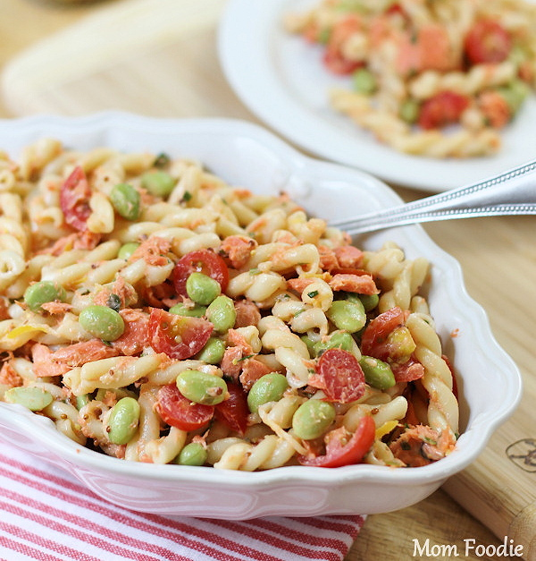 Salmon Pasta Salad with edamame and tomato in Lemon Herb Dressing