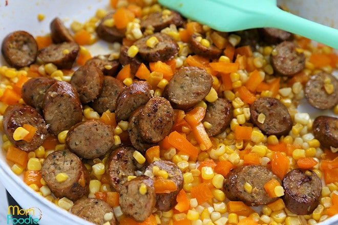 Sausage and peppers with corn