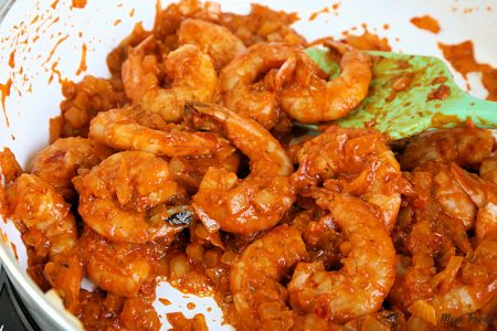 Saute chili shrimp