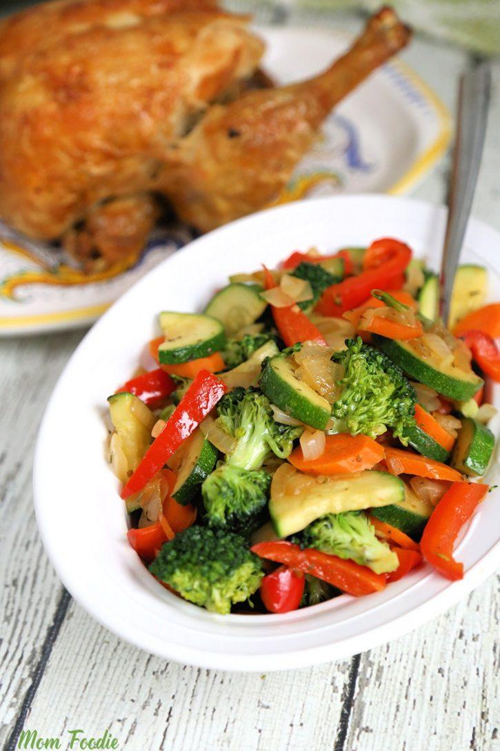 Sautéed Vegetables with Italian Seasoning in serving dish
