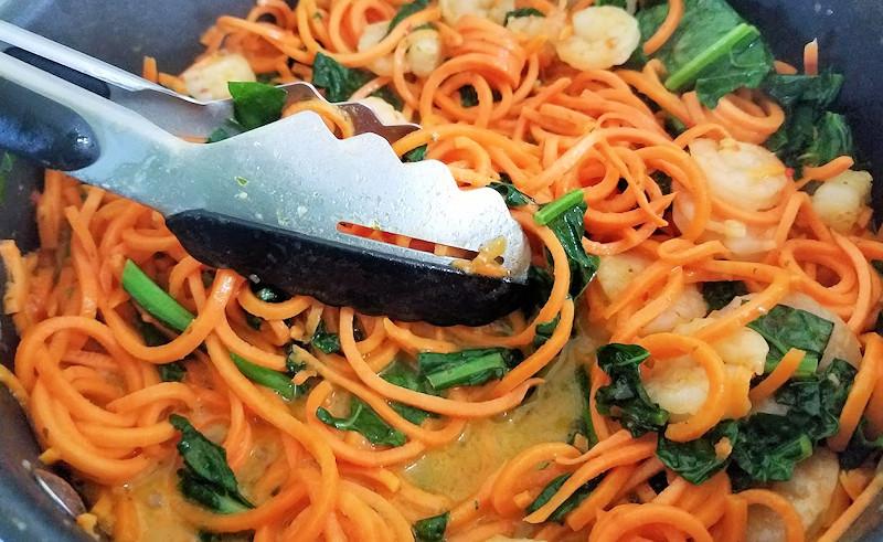 Shimp Scampi Kale Sweet Potato Noodles cooking