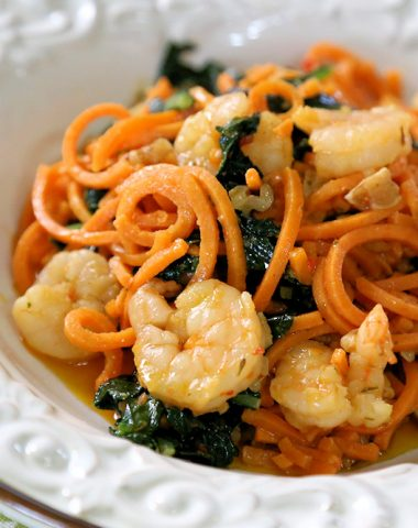 Shrimp & Kale Scampi Sweet Potato Noodles Walnuts