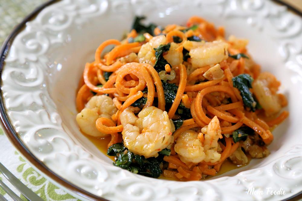 Shrimp & Kale Scampi Sweet Potato Noodles Walnuts