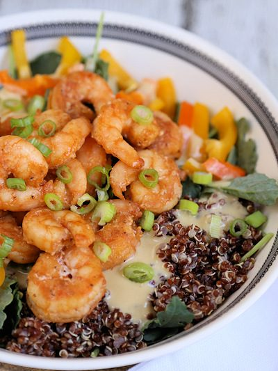Shrimp and Red Quinoa Kale Salad with Hummus Dressing