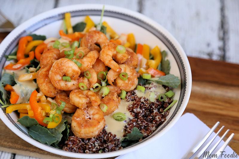 Shrimp-Red Quinoa Kale Salad with Hummus Dressing 3