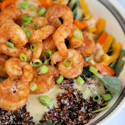Shrimp Red Quinoa Kale Salad with Hummus Dressing