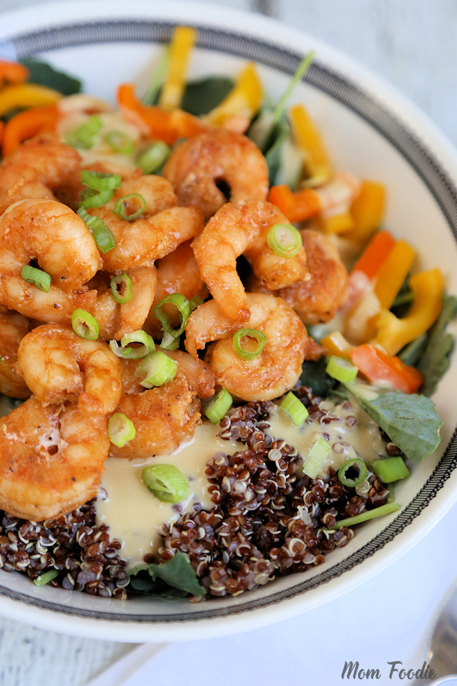Shrimp Red Quinoa Kale Salad with Hummus Dressing