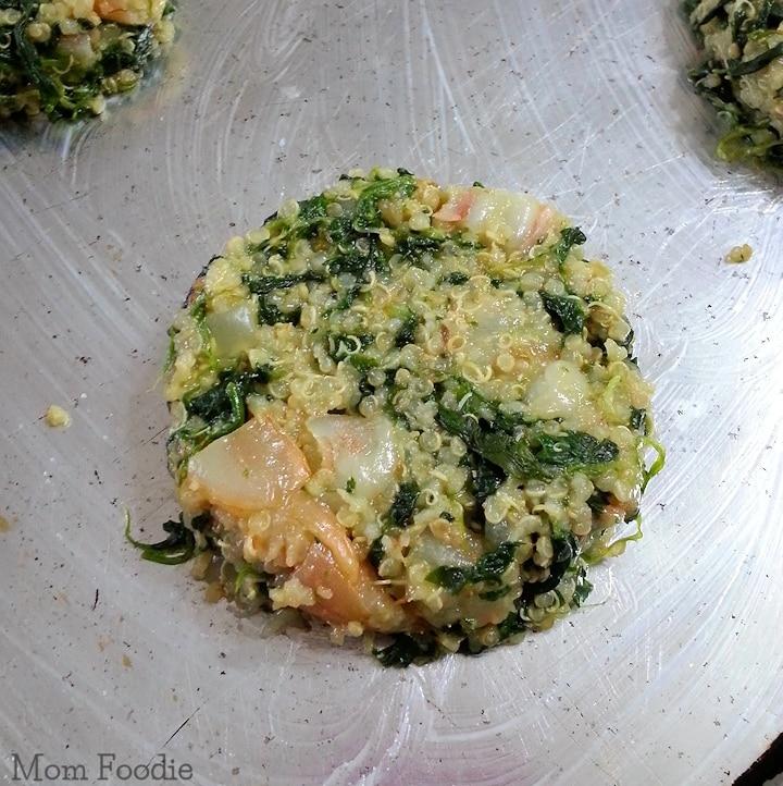 Shrimp Spinach Quinoa Cakes