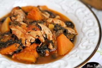 Whole 30 Slow Cooker Chicken Thighs with Butternut Squash Spinach