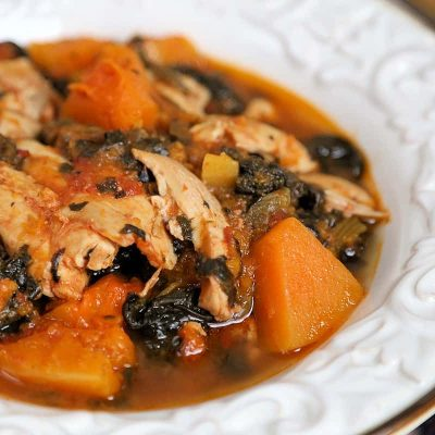 Whole 30 Slow Cooker Chicken Thighs with Butternut Squash and Spinach