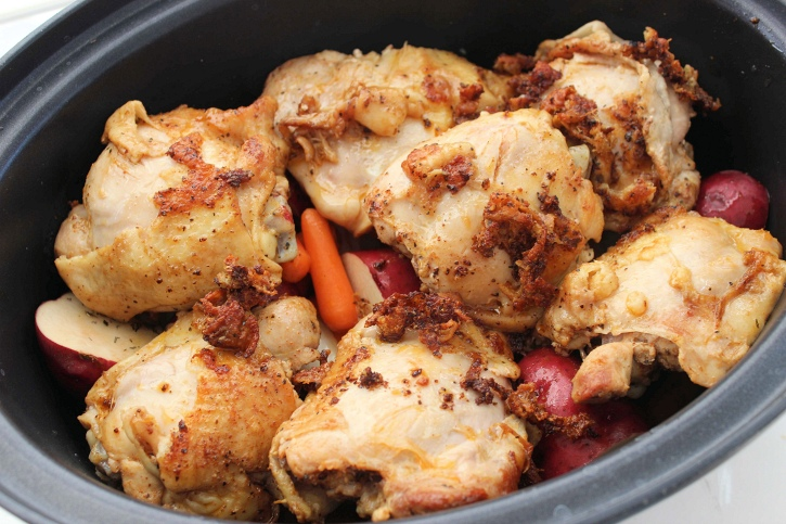 Slow Cooker Chicken Thighs with Potatoes and Carrots in slow cooker
