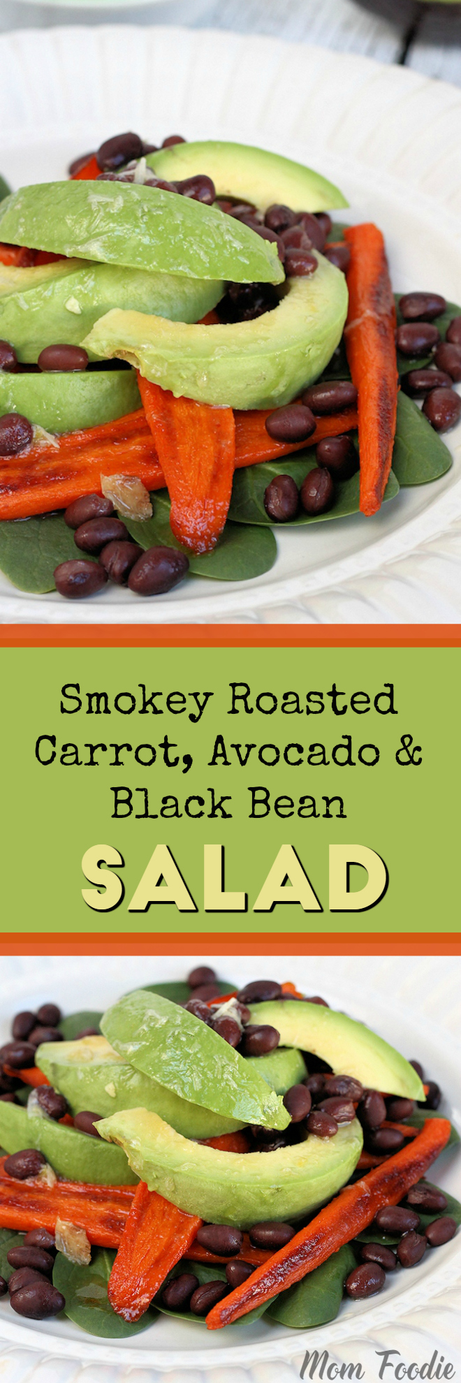 Smokey Roasted Carrot, Avocado & Black Bean Salad with Roasted Garlic Lemon Dressing #vegan #vegetarian #salad #avocado