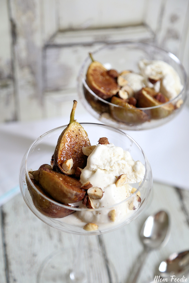 Spiced Roasted Figs and Hazelnuts with Vanilla Ice Cream
