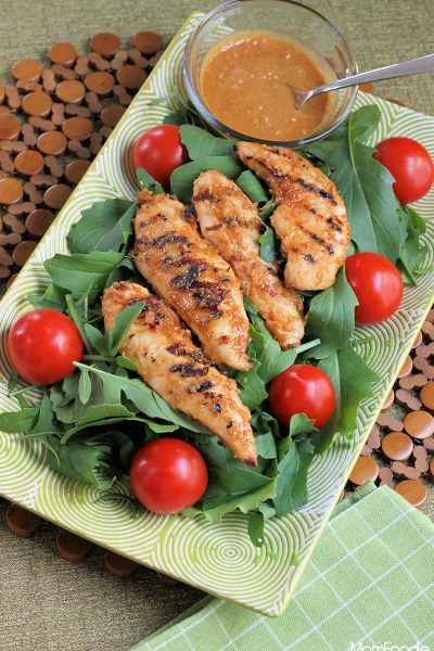 Spicy Grilled Chicken Salad with Thai Peanut Sauce Dressing