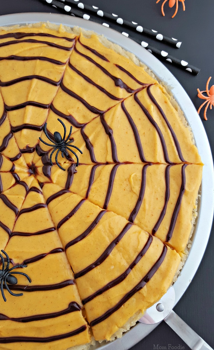 Spider Web Cookie Pizza with Pumpkin Spice Frosting