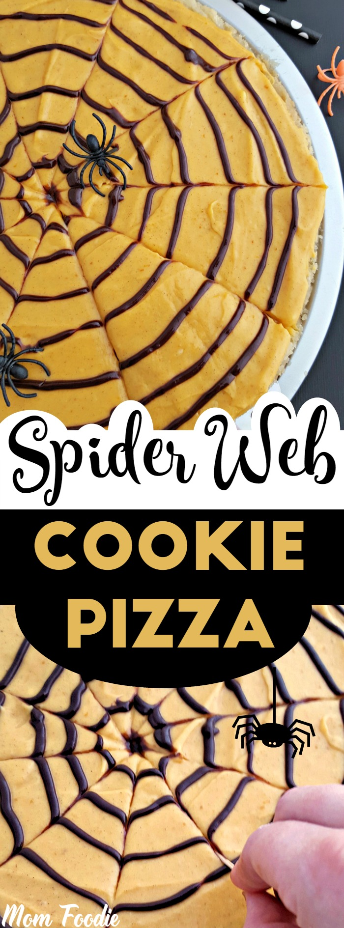 Spider Web Cookie Pizza with Pumpkin Spice Frosting : Halloween Party Food kids will love
