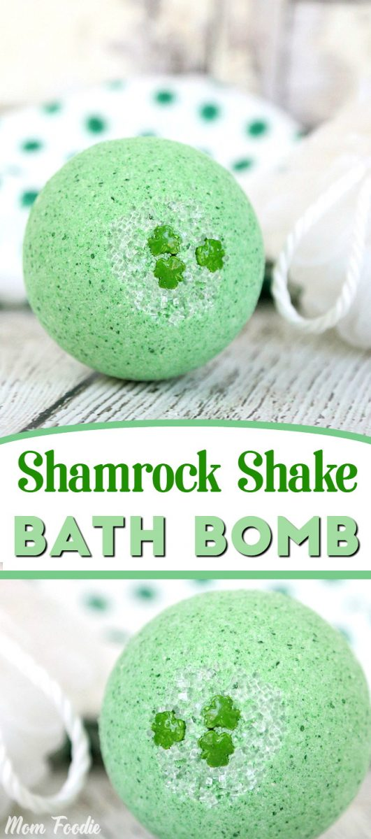 St Patricks Day Shamrock Shake Bath Bomb - enjoy a relaxing St. Patrick's day with this refreshing bath bomb recipe