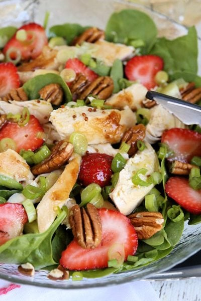 Strawberry Pecan Chicken Salad with Green Tea Citrus Vinaigrette: Fun Quick Summer Meal