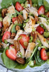 Strawberry Pecan Chicken Salad with Green Tea Citrus dressing