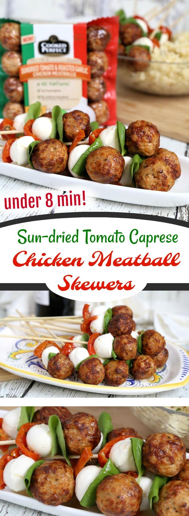 Sun-dried Tomato Caprese Meatball Skewers