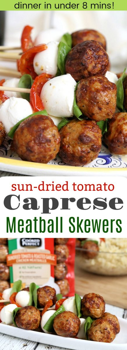 Sun-dried Tomato Caprese Chicken Meatball Skewers