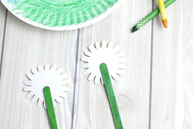 Sunflower craft adding stems
