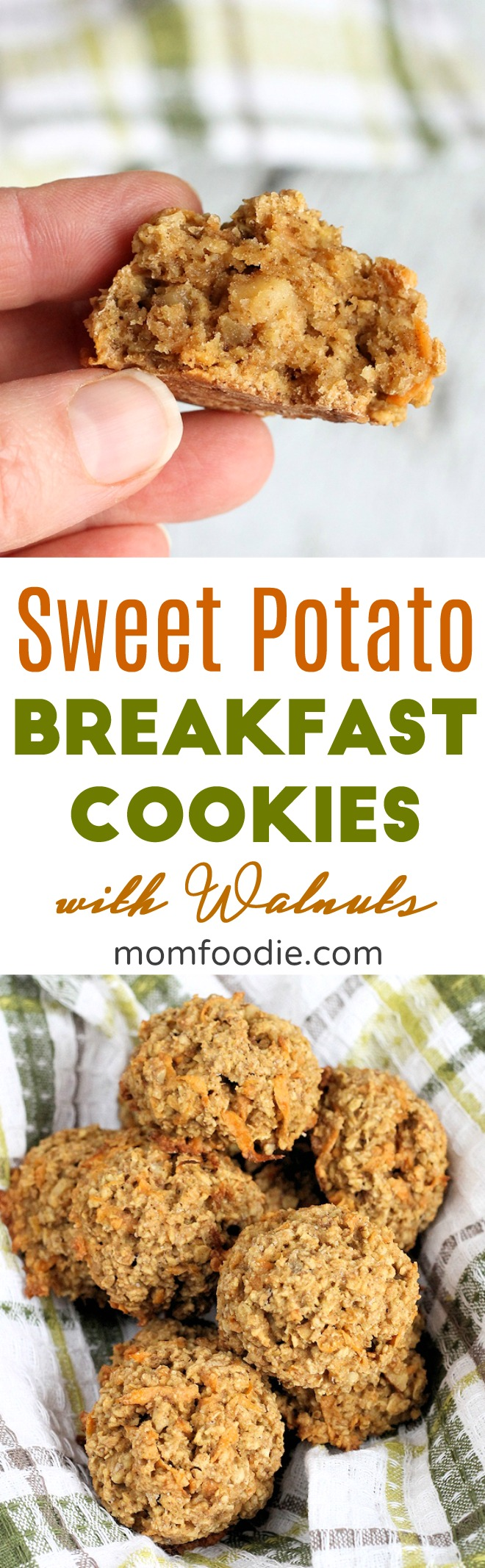 Sweet Potato Breakfast Cookies with Walnuts ... easy healthy breakfast cookie recipe. #breakfast #breakfastcookies