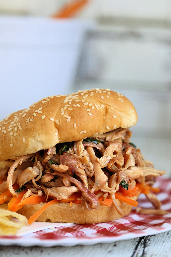 Thai Pulled Chicken Sandwiches with Quick Pickled Carrots